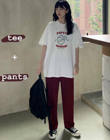 #2021实拍好质量 夏季套装女新款韩版ins短袖t恤女+阔腿裤两件套