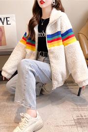 K9980【实拍】 400克羊羔绒拉链外套女冬拼接加绒加厚大码女装