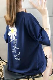【实拍6535棉】2020夏季新款小雏菊t恤女短袖ins宽松港风黑色上衣