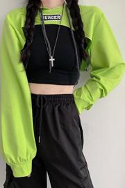 【市场价】初秋薄款荧光绿超短款连帽卫衣女高腰露脐街舞长袖上衣潮