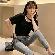 770【实拍 优质】2019夏季网红ins亮晶晶短袖T恤女宽松休闲体恤潮