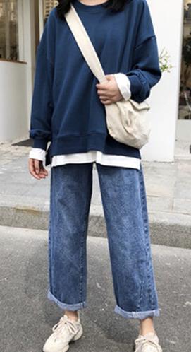 818#纯色长袖上衣bf秋季圆领卫衣2018新款女韩版宽松学生假两件潮