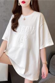 实拍8735#潮牌卡通凹凸印下架新款中长款短袖T恤女上衣