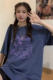 3084#【原创6535棉实拍】夏季新款印花中长款圆领短袖T恤半袖女