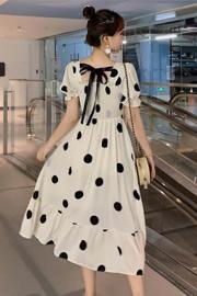 波点雪纺短袖连衣裙大码2021新款夏宽松显瘦遮肚气质流行圆点裙子