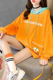 3112#(26棉74涤)韩版印花秋季薄款口袋连帽插色卫衣女【实拍】