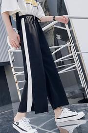 实拍9339#阔腿裤女2020韩版百搭宽松雪纺休闲直筒九分高腰女裤子