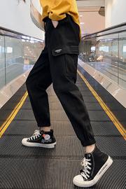 实拍304春秋ins工装裤女宽松嘻哈hiphop学生港风bf休闲阔腿束脚裤