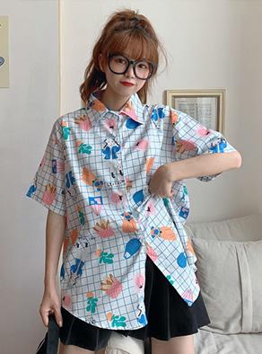 226#(实拍)港风翻领短袖衬衫女小众设计感新款韩版宽松