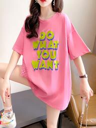 0019【实拍实价】短袖t恤女夏2021新款韩版圆领学生上衣大码女装