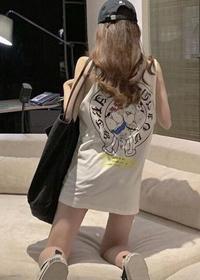 官图#中长款背心宽松后背印花少女可爱涂鸦下衣失踪无袖T恤上衣女