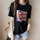 【6535精梳棉】夏装新款时尚印花短袖t恤女宽松上衣休闲体恤打底衫
