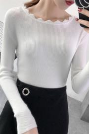 实拍006#包芯纱 2018新款一字领长袖打底衫针织衫毛衣女长袖套头