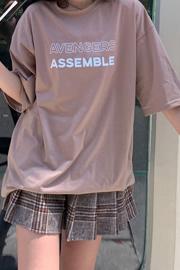 K013#(实拍65/35棉)ins夏季新款韩版宽松女装字母印花短袖t恤女