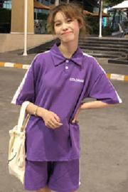 韩版休闲运动套装夏季女装原宿字母Polo短袖T恤+阔腿裤短裤两件套