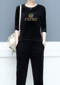 2019秋装新款女装秋季金丝绒运动服套装女秋冬时髦休闲卫衣两件套