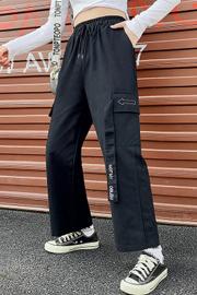 实拍9520#春装新款直筒百搭超火工装裤女显瘦高腰宽松bf阔腿裤潮