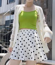 实拍9395波点半身裙女短裙夏高腰ins超火A字百褶裙子黑色雪纺裙裤