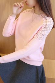2018秋装新款女装韩版镂空蝙蝠衫秋季长袖针织衫女套头毛衣女宽松