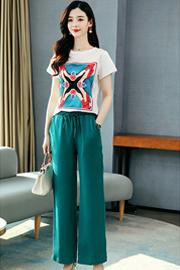 【好质量】夏新款个性气质女短袖T恤+松紧腰阔腿裤休闲百搭时尚套装