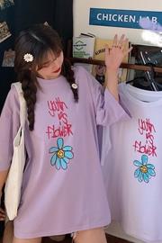 2045#(实拍)6535拉架棉前后卡通字母花朵女短袖长款T
