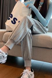 官网9981#灰色运动裤女春秋宽松2021年新款小个子卫裤休闲哈伦裤