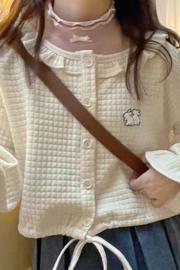华夫格卫衣女2021秋冬季新款韩版宽松百搭开衫外套学生上衣