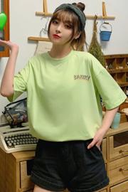 218#实拍 6535精梳棉  短袖t恤女宽松2020新款春夏大码女装