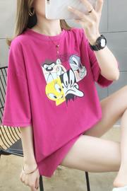 【实拍6535棉】短袖t恤女潮春夏季新款宽松韩版卡通印花上衣女