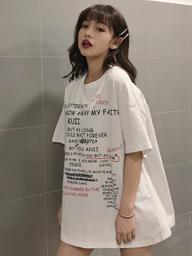 2578【实拍】短袖T恤女大码女装200斤胖妹妹宽松印花学生中长款潮