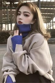 1019#(官网图250克大卫衣)秋冬高领假两件长袖加绒加厚卫衣