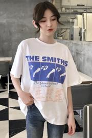 官方图6535春装2018女装学生上衣打底衫宽松印花圆领白色短袖T恤