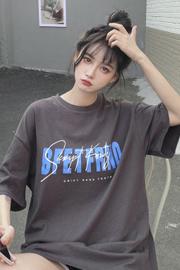 3051#【实拍 小视频】【6535拉架棉】短袖T恤女夏季宽松中长款