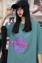 3027#【实拍 6535拉架棉】太空宇宙星球短袖中长款T恤女