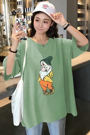 1283实拍(65/35拉架棉)中长款小矮人短袖T恤女卡通打底衫