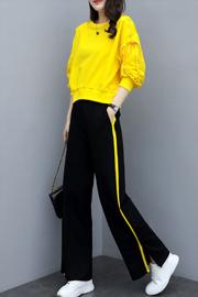 2019春季新款女装时尚阔腿裤两件套宽松显瘦休闲运动服卫衣套装女