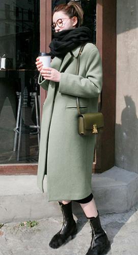 #928秋冬装新款毛呢外套女韩版修身显瘦中长款加厚过膝呢子大衣潮