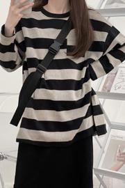 3302#(官图) 条纹开叉长袖T恤圆领女