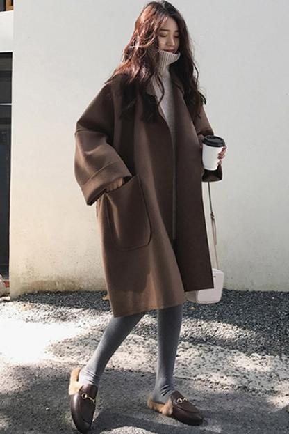 956 宽松oversize廓形毛呢外套女秋冬学生中长款大码斗篷呢子大衣