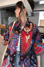 实拍 日系宽松显瘦卡通印花衬衣女夏韩版超火学生短袖花衬衫上衣