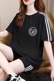 休闲运动套装女韩版宽松时尚夏装2021新款短袖短裤跑步服两件套潮