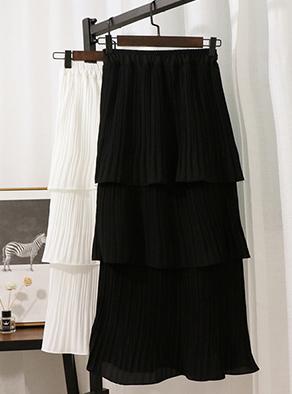 实拍321#韩版气质中长款高腰a字蛋糕裙长裙百褶裙半身裙女士裙子