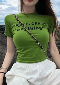1034# 显身材短款露脐显瘦字母印花百搭打底短袖T恤上衣