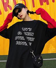 219# 2018秋装新款韩版薄款慵懒风拼接撞色长袖卫衣