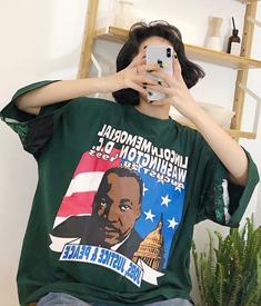 679#实拍 小视频 C原宿夏装恶搞黑人印花拼接豹纹oversize短袖T恤
