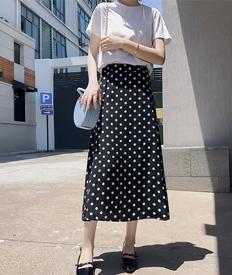 实拍9393黑色波点半身裙女春夏中长款a字高腰显瘦大腿粗的鱼尾裙