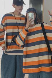 #851实拍(6535鱼鳞) 情侣装秋装卫衣小众设计感ins超火条纹上衣