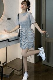 #553官图 网红风褶皱花苞连衣裙显瘦法式小众套头慵懒风短袖裙子