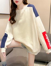 6132# (15%棉 85%纤维)加绒加厚韩版宽松撞色圆领卫衣女