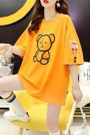 官图特价【35棉】短袖t恤女宽松洋气夏装大码胖mm贴布印花上衣